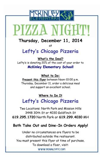 Lefty's pizza night