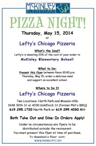 McK Pizza Night flyer 5-2014 Lefty's