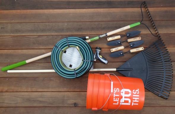 Thank you, Home Depot for (1) 75 ft hose (1) sprayer (4) hand trowels (1) leaf rake (1) metal soil rake (2) 5 gallon buckets!