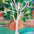 """""""The Tree of Z"""" Watercolor and cut paper collage."""