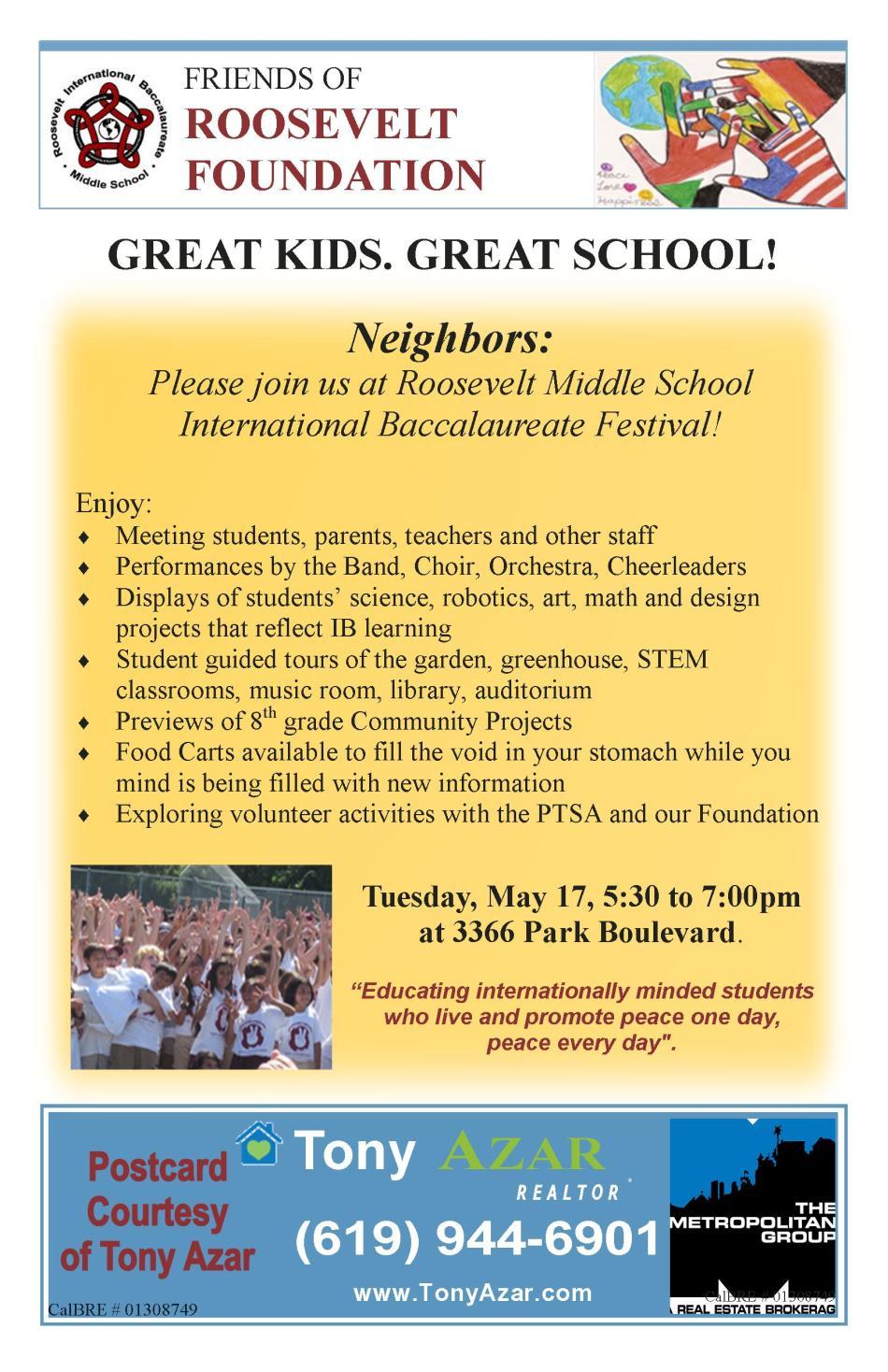 Tony Azar postcard school IB invite