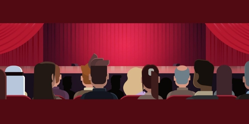 People Sitting At Theater Or In Cinema Looking At Stage With Red Curtains Waiting For Performance Start Back Rear View Horizontal Banner